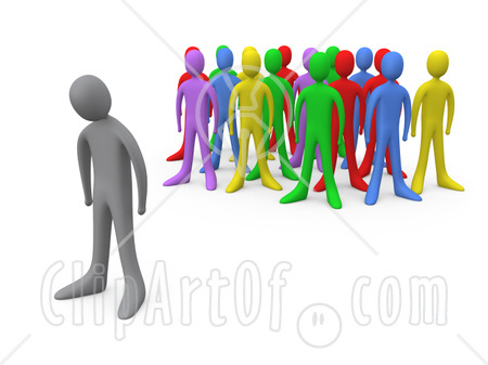 16516-sad-gray-person-standing-alone-near-a-crowd-of-different-colored-people-symbolizing-depression-bullying-standing-out-from-the-crowd-etc-clipart-illustration-graphic